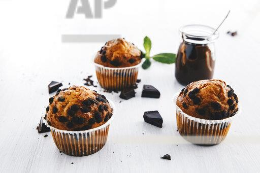 Home-baked muffins with chocolate chips