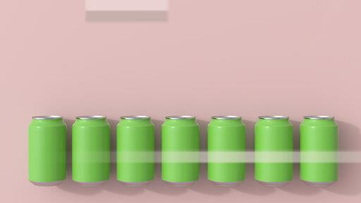 3D rendering, Green beverage cans on pink background