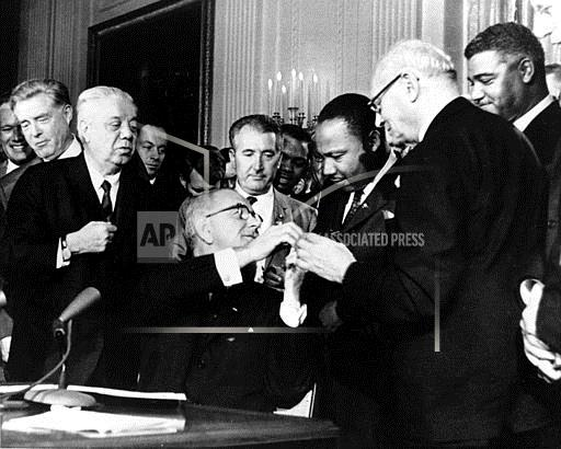 Associated Press Domestic News Dist. of Columbia United States LBJ MLK CIVIL RIGHTS ACT 1964
