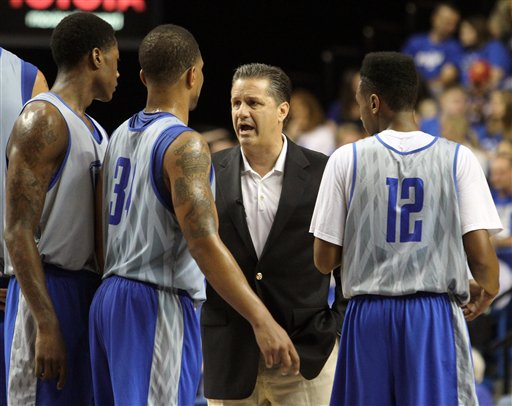 John Calipari, Alex Poythress, Julius Mays and Ryan Harrow