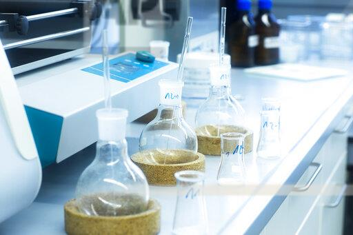 Laboratory glassware on table in lab