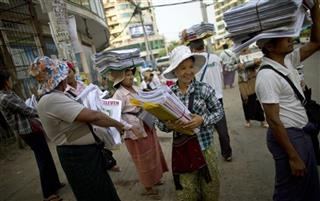 APTOPIX Myanmar New Newspapers