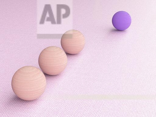 3D rendering, Purple wood ball follwed by three pink ones