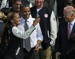 Barack Obama, Sanya Richards-Ross, Joe Biden