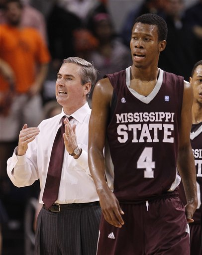 Tony barbee reacts in the first half of their ncaa college basketball