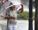 Karen Day looks out from an umbrella in downtown Wilmington, N.C., Thursday, Sept. 13, 2018. Day lives along Front Sreet and had just lost power. Florence's outer bands of wind and rain began lashing North Carolina on Thursday. (Matt Born/The Star-News via AP)