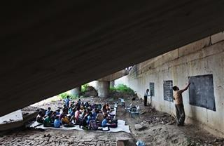 India School Under Bridge