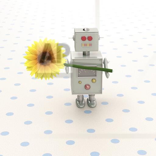 3D rendering, Toy robot presenting a sunflower