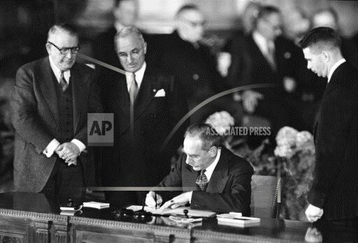 Watchf Associated Press Domestic News  Dist. of Col United States APHS201754 NATO Truman 1949