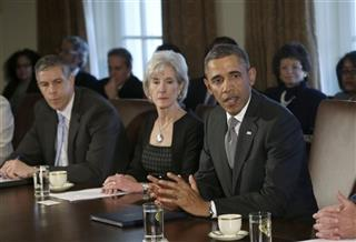 Barack Obama, Kathleen Sebelius, Chuck Hagel, Arne Duncan