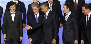 Barack Obama, Anders Fogh Rasmussen, Bamir Topi, British Prime Minister David Cameron, Elio Di Rupo,