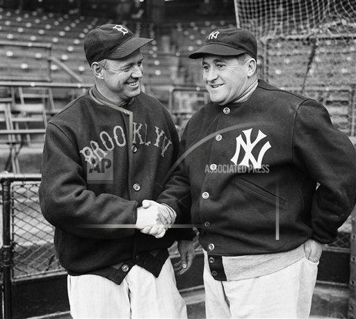 Watchf AP S BBO NY USA APHS229437 Dodgers Yankees Managers Shake 1937