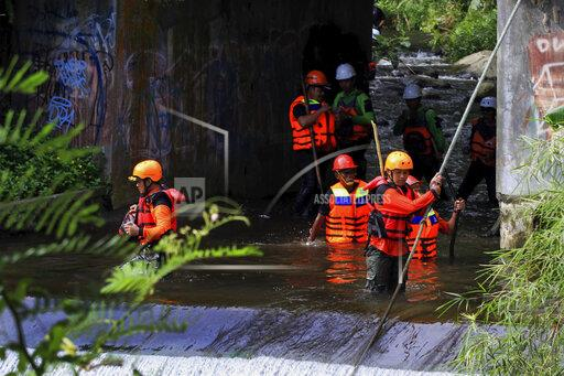 Flash flood kills nine students on Indonesian school trip in Sleman, Yogyakarta - 22 February 2020.