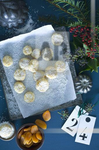 Christmas Cookies with apricots sprinkled with coconut flakes