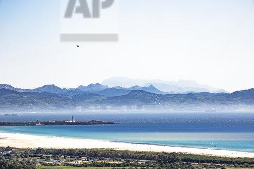 Spain, Andalusia, Tarifa, view across the Strait of Gibraltar to Morocco