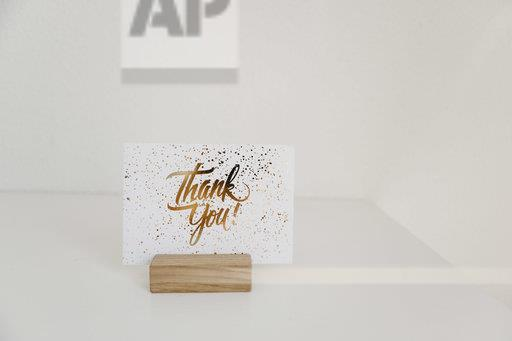 Sign, thank you, card