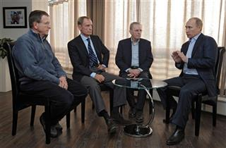 Vladimir Putin, Gilbert Felli, Jean-Claude Killy, Jacques Rogge