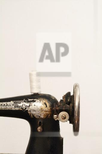 Close-up of old vintage sewing machine