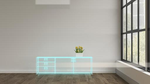 3D rendering, Hologram of sideboard in modern room, with potted tulips