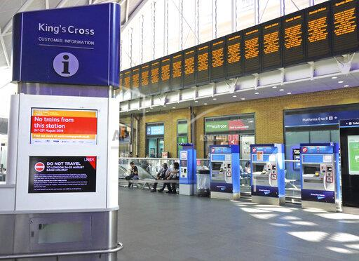 Kings Cross station closed for the Bank Holiday in London, UK - 24 Aug 2019