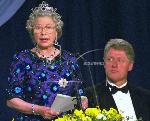 Associated Press International News United Kingdom England CLINTON QUEEN ELIZABETH