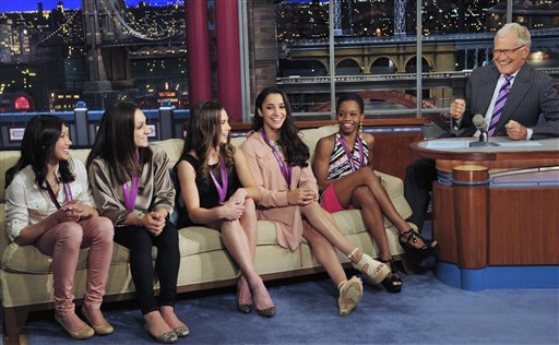 David Letterman; Kyla Ross; Jordyn Wieber; McKayla Maroney; Aly Raisman; Gabby Douglas