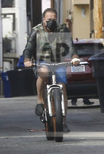 Arnold Schwarzenegger Seen Biking In Santa Monica