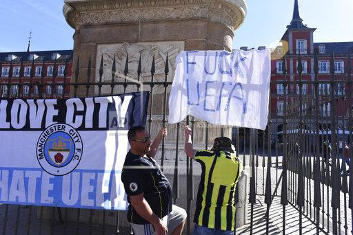 Manchester City fans in Madrid, Spain - 26 Feb 2020
