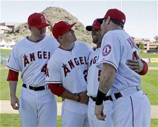 Albert Pujols, Josh Hamilton, Mark Trumbo, Mike Trout