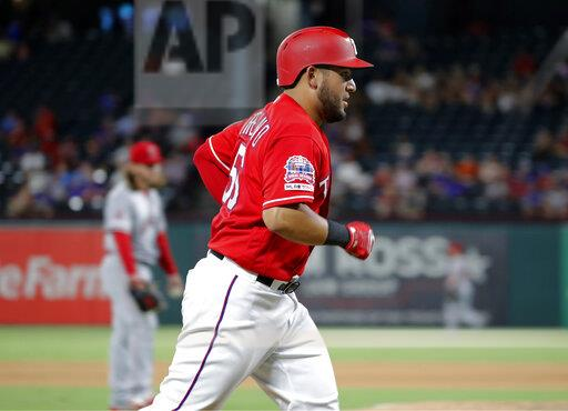 CORRECTION Angels Rangers Baseball