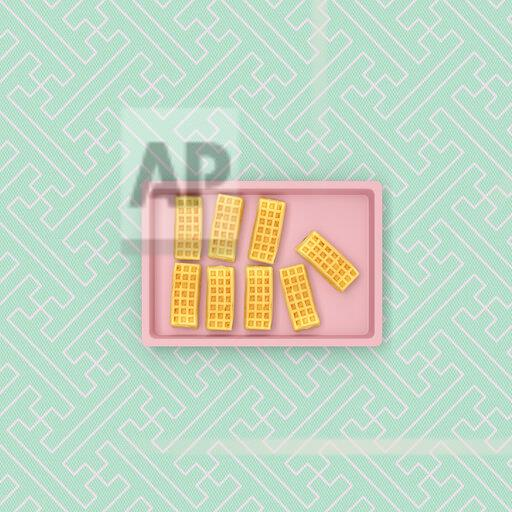 3D rendering, Cheese cake on baking tray on patterned background