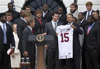 Barack Obama,  AJ McCarron, Nick Saban