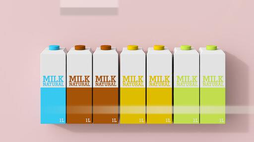 3D rendering, Row of milk cartons in different colors