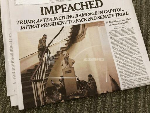 Impeachment Headline on the cover of the New York Times