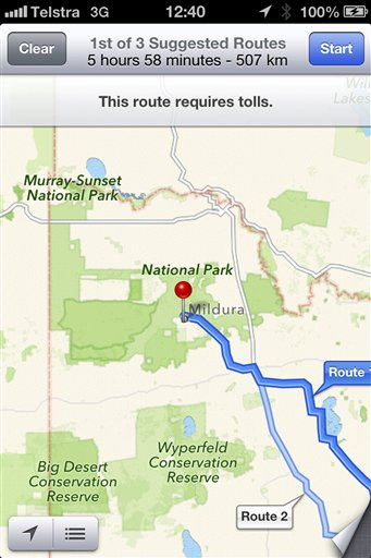 Australia Apple Maps Drivers Stranded