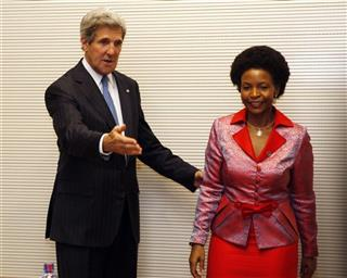 U.S. Secretary of State John Kerry meets with South African Foreign Minister Maite Nkoana-Mashabane in Addis Ababa, Ethiopia