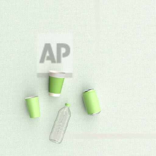 3D rendering, Plastic cups, can and bottle on green background
