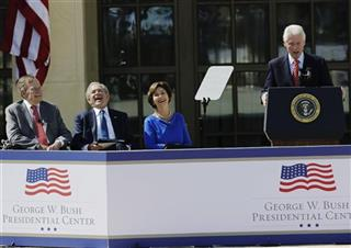 George H.W. Bush, George W. Bush, Laura Bush, Bill Clinton