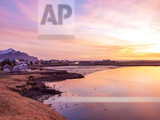 Iceland, Hoefn, townscape at sunrise