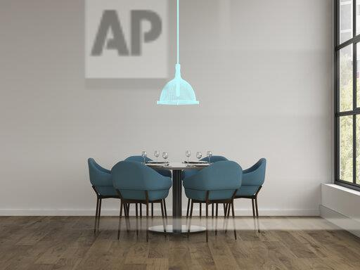 3D rendering, Hologram of ceiling lamp in modern dining room