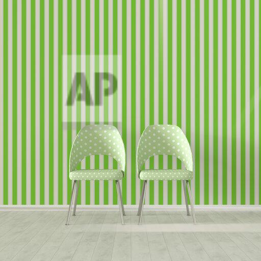 3D rendering, Two chairs in front of striped wallpaper