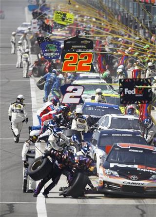 Denny Hamlin, Brad Keselowski, Timmy Hill, Joey Logano, Paul Menard 