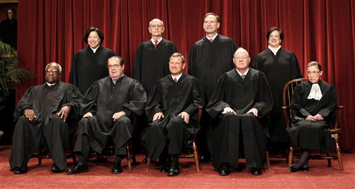 Clarence Thomas, Antonin Scalia, John G. Roberts, Anthony M. Kennedy, Ruth Bader Ginsburg, Sonia Sotomayor, Stephen Breyer, Smauel Alito Jr., Elena Kagan