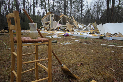 A Broom Rests Against Stool Next To Demolished Mobile Home On Lockhart Trailer Court Road In Lauderdale Miss Sunday Jan 22 2017