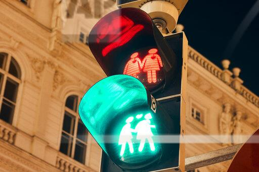 Austria, Vienna, Gay-themed traffic lights
