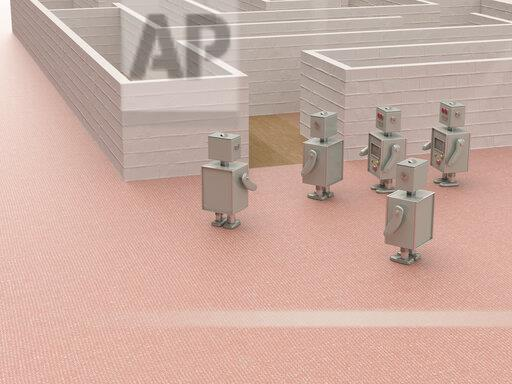 3D rendering, Toy robots standing at the entrance of a maze