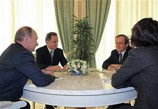 Vladimir Putin, Michel Platini, Vitaly Mutko