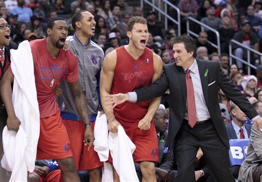 Vinny Del Negro, DeAndre Jordan, Ryan Hollins, Blake Griffin