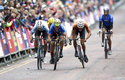 Italy's Matteo Trentin sprints to win the Men's Road Race on day eleven of the 2018 European Championships in Glasgow. Sunday Aug. 12, 2018. (John Walton/PA via AP)