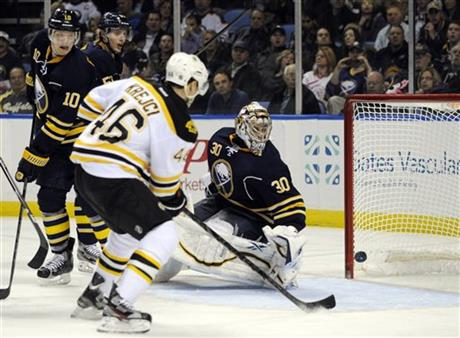 David Krejci, Christian Ehrhoff, Ryan Miller